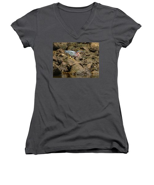 The Green Heron Women's V-Neck T-Shirt (Junior Cut) by Jerry Cahill