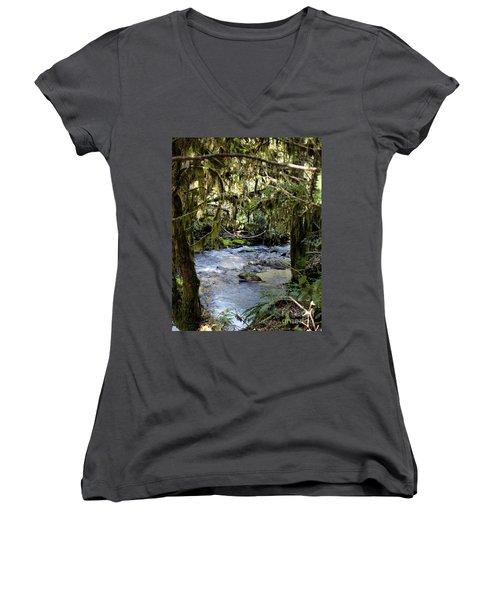 The Green Seen Women's V-Neck T-Shirt (Junior Cut) by Marie Neder