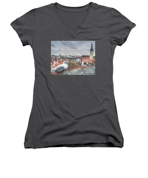 The Guard Of Tallinn Women's V-Neck T-Shirt (Junior Cut) by Yury Bashkin