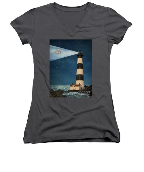 Women's V-Neck T-Shirt (Junior Cut) featuring the photograph The Guiding Light by Juli Scalzi