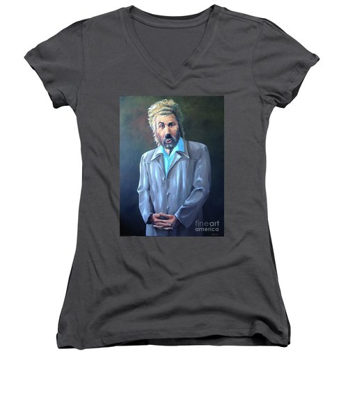 Women's V-Neck T-Shirt (Junior Cut) featuring the painting The Gunther by Diane Daigle