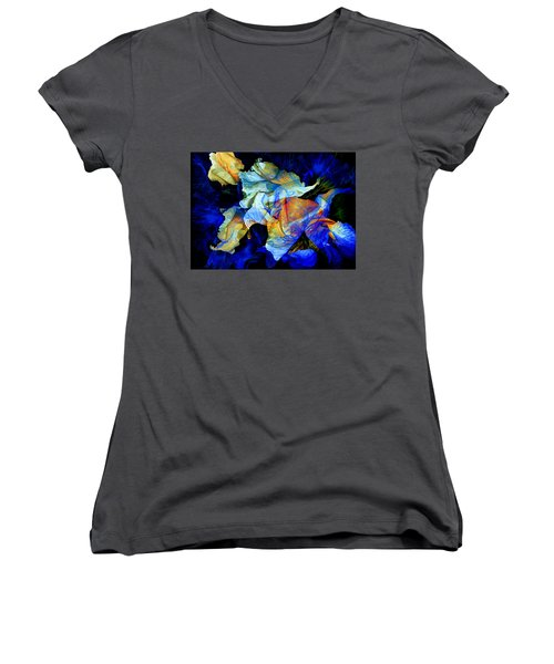 Women's V-Neck T-Shirt featuring the painting The Heart Of My Garden by Hanne Lore Koehler