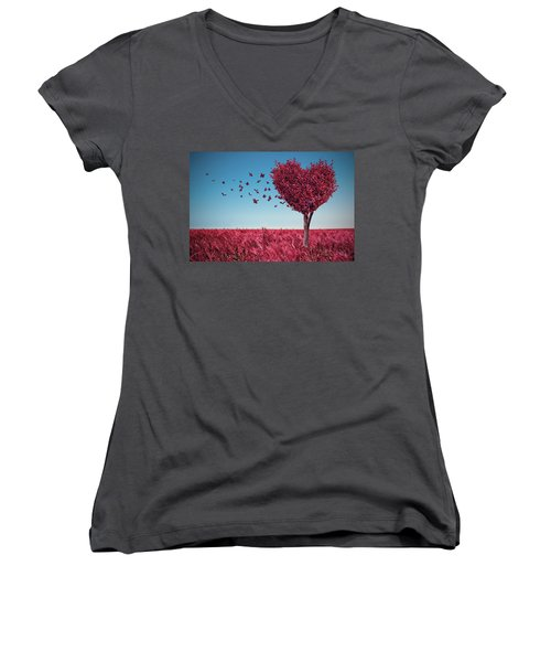 The Heart Tree Women's V-Neck T-Shirt
