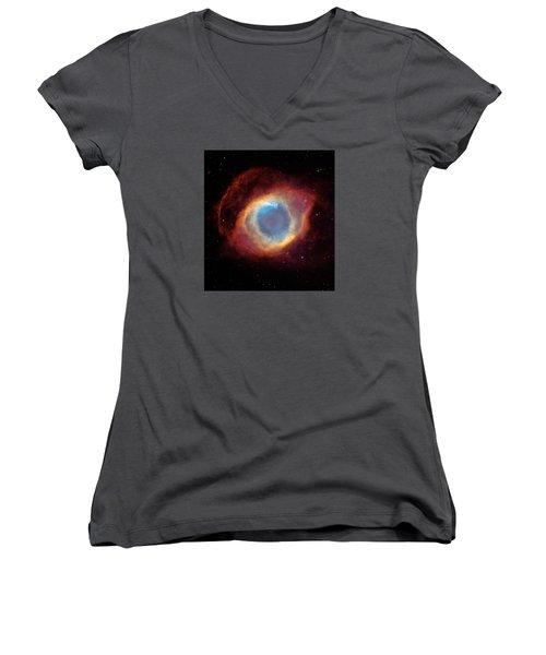 The Helix Nebula  Women's V-Neck T-Shirt