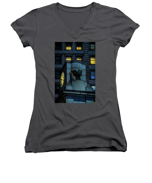 Women's V-Neck T-Shirt (Junior Cut) featuring the photograph The Herald Square Owl by Chris Lord