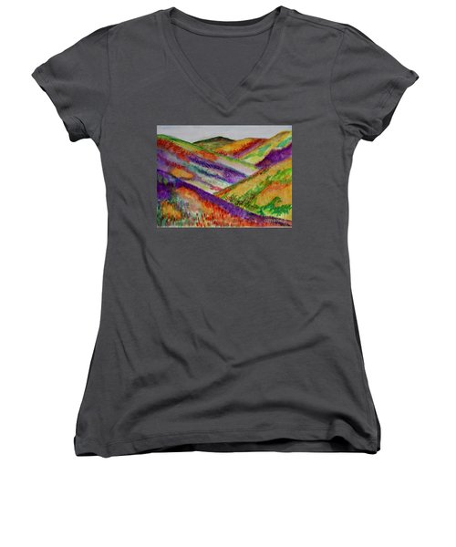 Women's V-Neck T-Shirt (Junior Cut) featuring the painting The Hills Are Alive by Kim Nelson