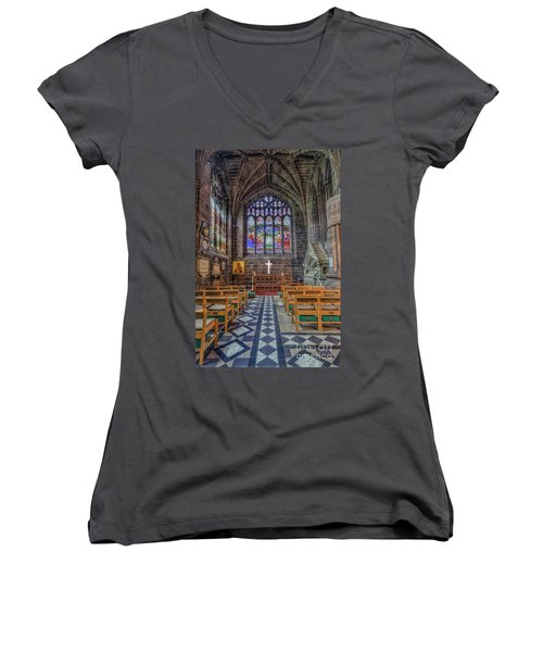 The Holy Cross Women's V-Neck T-Shirt (Junior Cut) by Ian Mitchell