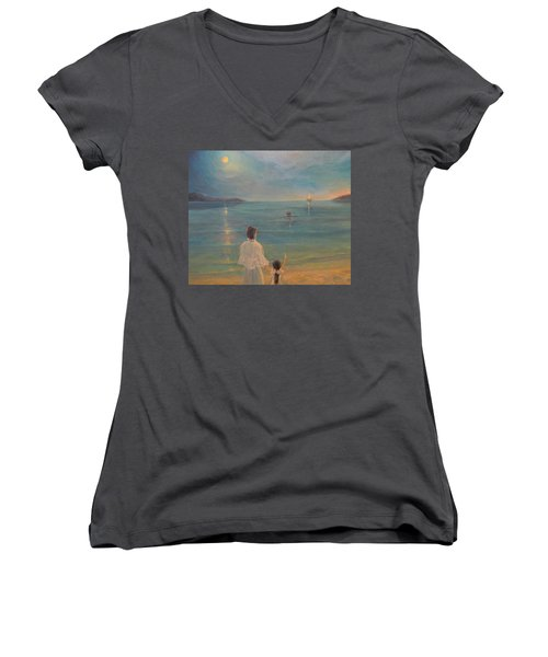 Women's V-Neck T-Shirt (Junior Cut) featuring the painting The Homecoming by Donna Tucker
