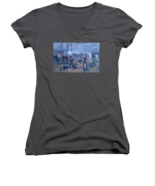 Women's V-Neck T-Shirt (Junior Cut) featuring the painting The Hornets' Nest by Thomas Corwin Lindsay