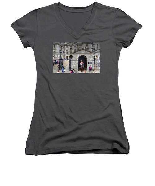 The Horse Guard At Whitehall Women's V-Neck T-Shirt (Junior Cut) by Karen McKenzie McAdoo