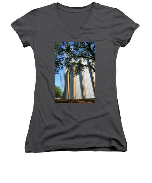 The Houston Water Wall And Williams Tower Women's V-Neck