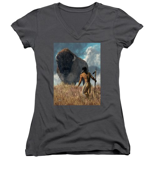 The Hunter And The Buffalo Women's V-Neck (Athletic Fit)