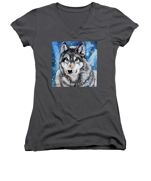 Women's V-Neck T-Shirt (Junior Cut) featuring the painting The Hunter by Igor Postash