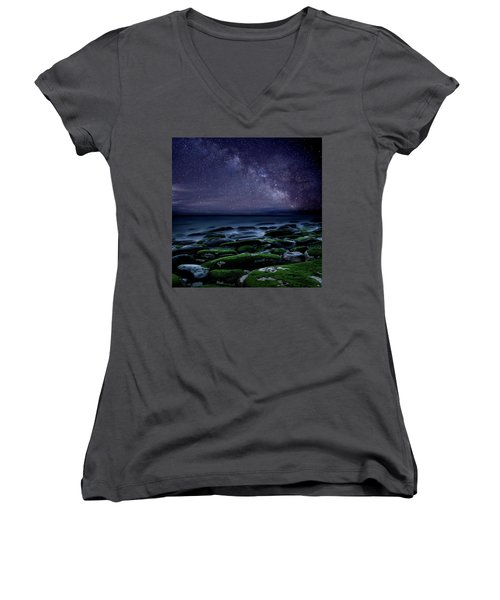 The Immensity Of Time Women's V-Neck T-Shirt (Junior Cut) by Jorge Maia