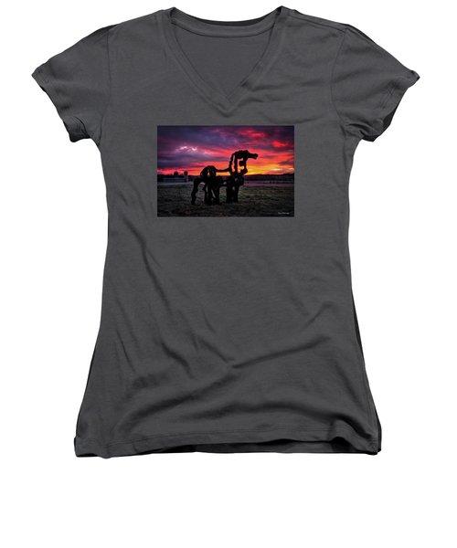 The Iron Horse Sun Up Women's V-Neck T-Shirt (Junior Cut) by Reid Callaway