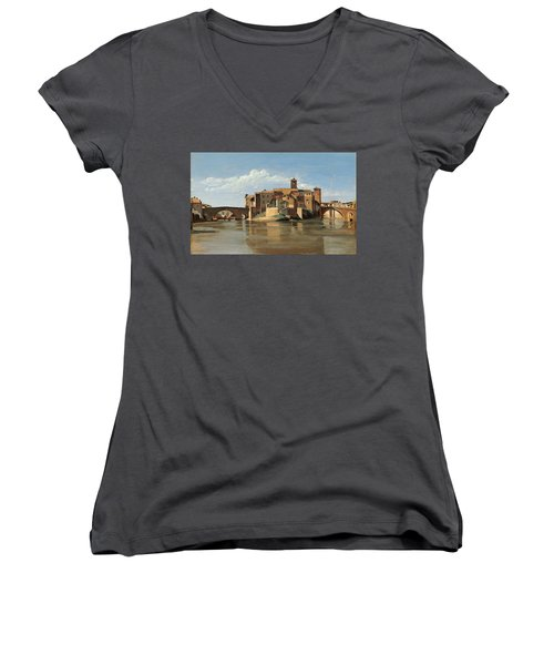 The Island And Bridge Of San Bartolomeo Women's V-Neck