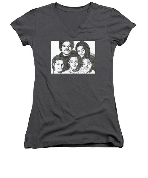 The Jacksons Tribute Women's V-Neck T-Shirt