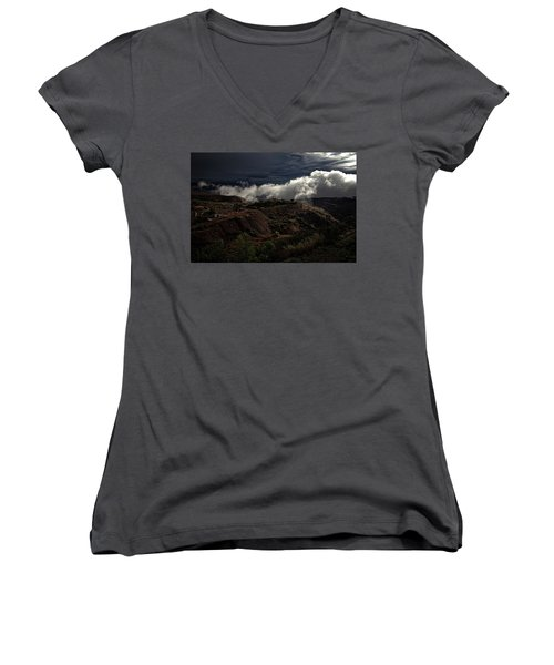 Women's V-Neck T-Shirt (Junior Cut) featuring the photograph The Jerome State Park With Low Lying Clouds After Storm by Ron Chilston