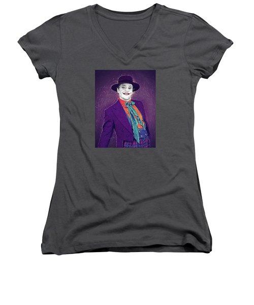 The Joker Women's V-Neck T-Shirt (Junior Cut) by Taylan Apukovska