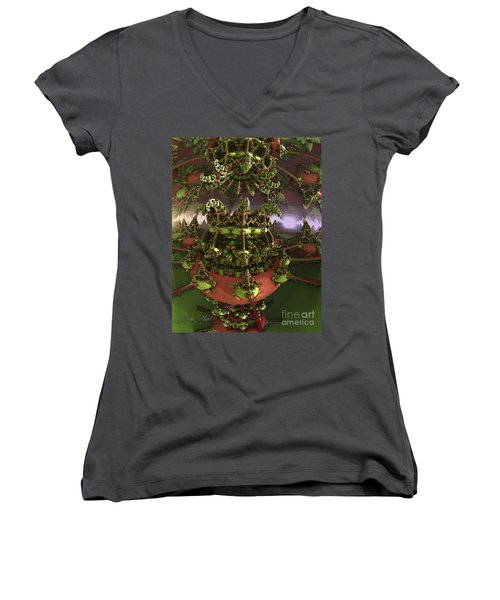 The Jokers Machine Women's V-Neck T-Shirt (Junior Cut) by Melissa Messick