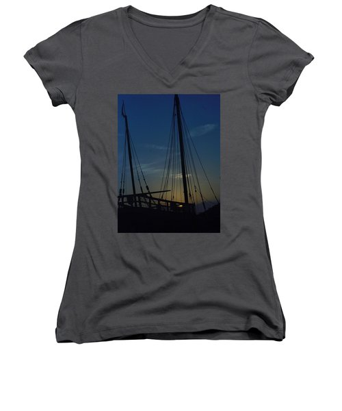 Women's V-Neck T-Shirt (Junior Cut) featuring the photograph The Journey Began by John Glass