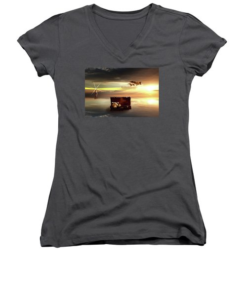 The Journey Begins  Women's V-Neck T-Shirt (Junior Cut) by Nathan Wright