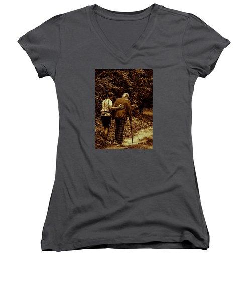 The Journey Women's V-Neck T-Shirt (Junior Cut) by Michael Nowotny