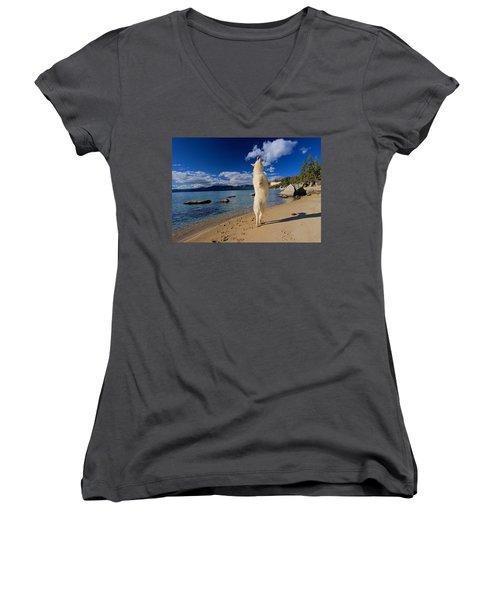 The Joy Of Being Well Loved Women's V-Neck T-Shirt (Junior Cut) by Sean Sarsfield
