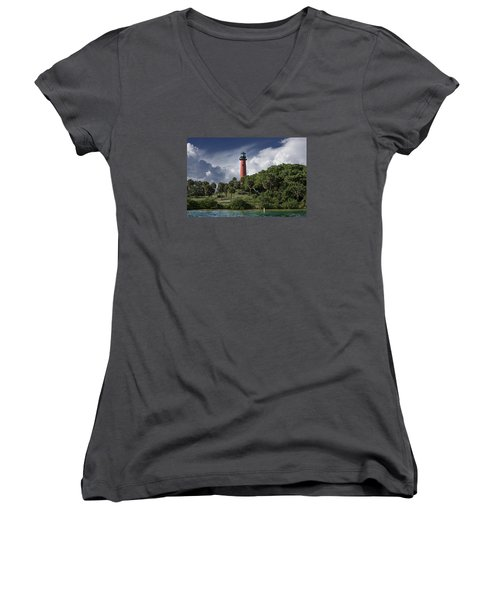 The Jupiter Inlet Lighthouse Women's V-Neck T-Shirt (Junior Cut) by Laura Fasulo