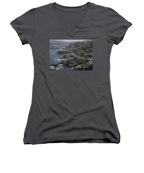 The Kerry Cliffs, Ireland Women's V-Neck (Athletic Fit)