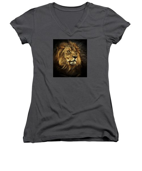 Women's V-Neck T-Shirt (Junior Cut) featuring the mixed media The King by Elaine Malott