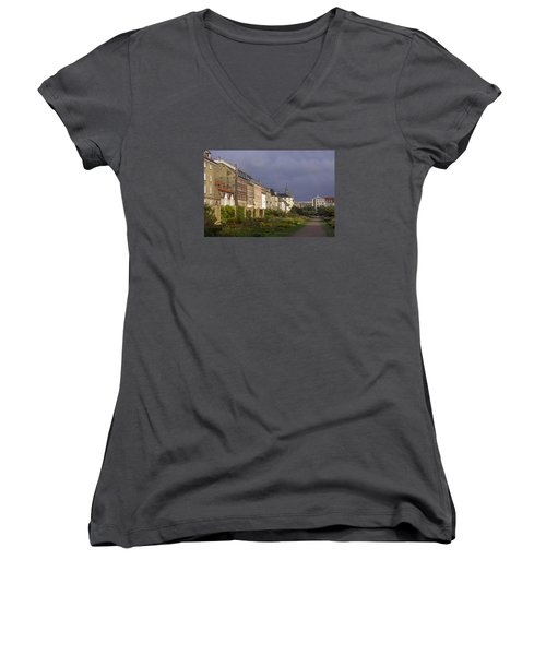 Women's V-Neck T-Shirt (Junior Cut) featuring the photograph The Kings Garden by Inge Riis McDonald