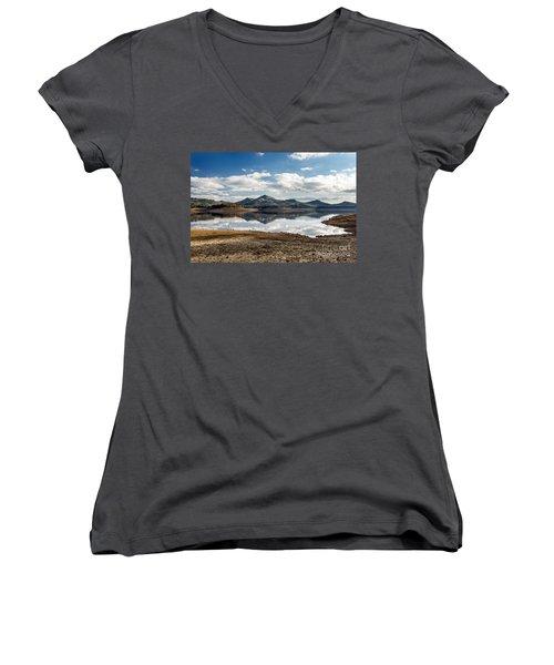 The Lake Women's V-Neck T-Shirt (Junior Cut) by Giuseppe Torre