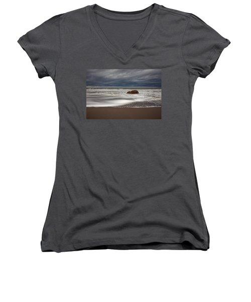 The Last Holdout Women's V-Neck T-Shirt (Junior Cut) by Mark Alder