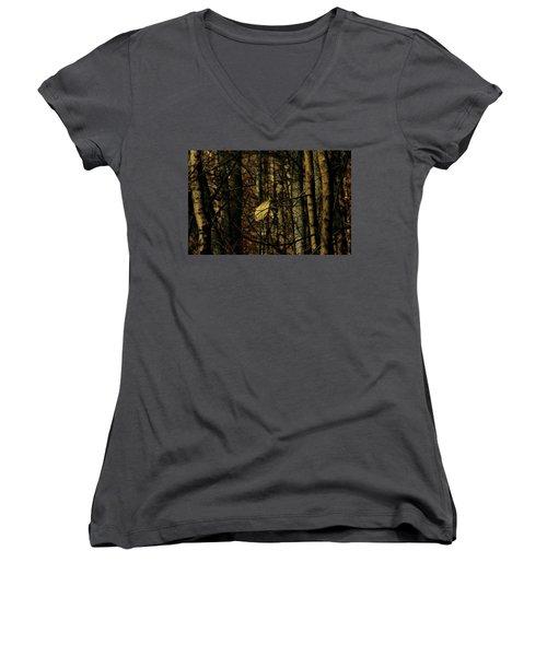 The Last Leaf Women's V-Neck T-Shirt (Junior Cut) by Bruce Patrick Smith