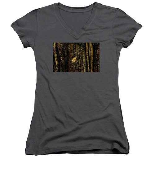 The Last Leaf Women's V-Neck T-Shirt (Junior Cut)