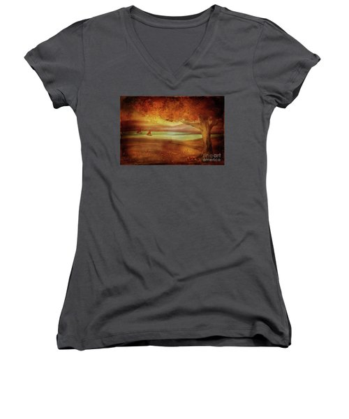 Women's V-Neck T-Shirt featuring the digital art The Last Sail Of The Season  by Lois Bryan