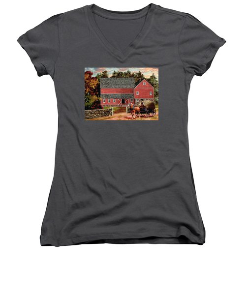 The Last Wagon Women's V-Neck T-Shirt (Junior Cut) by Ron Chambers