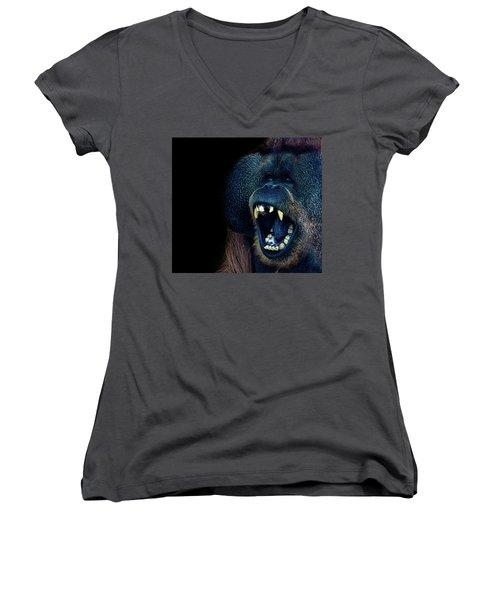The Laughing Orangutan Women's V-Neck T-Shirt (Junior Cut) by Martin Newman