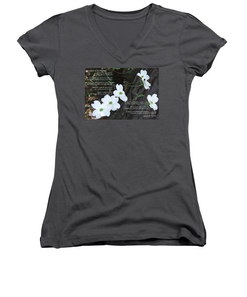 The Legend Of The Dogwood Women's V-Neck T-Shirt (Junior Cut) by Andrea Anderegg
