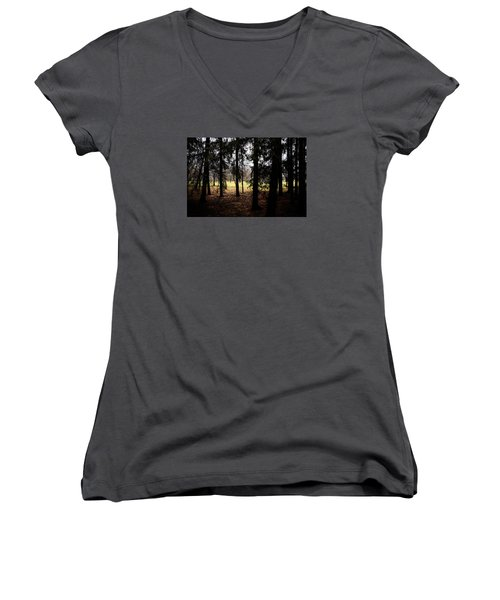 The Light After The Woods Women's V-Neck T-Shirt (Junior Cut) by Celso Bressan