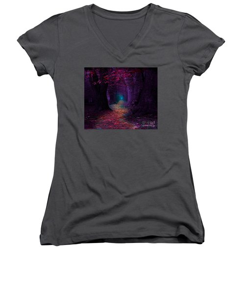 The Light At The End Women's V-Neck T-Shirt (Junior Cut) by Rod Jellison