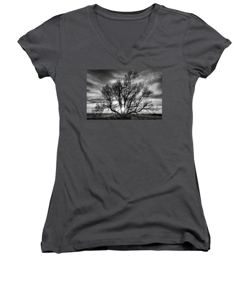 The Light Comes Through Women's V-Neck T-Shirt (Junior Cut) by Monte Stevens