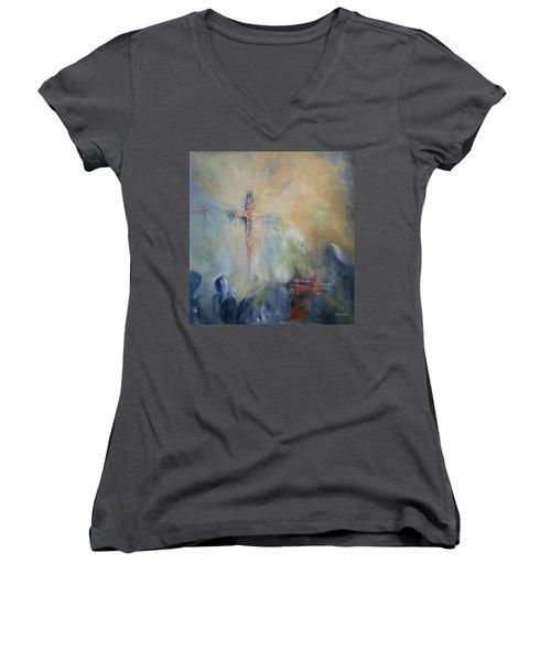 The Light Of Christ Women's V-Neck T-Shirt (Junior Cut) by Roberta Rotunda