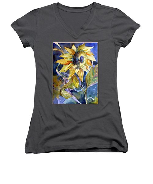 The Light Of Sunflowers Women's V-Neck (Athletic Fit)
