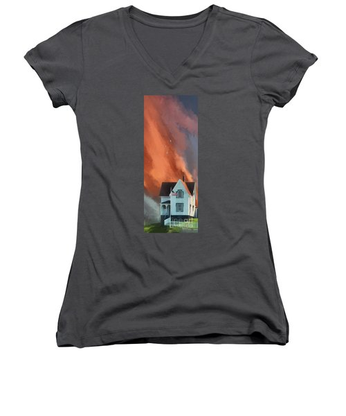 Women's V-Neck T-Shirt featuring the digital art The Lighthouse Keeper's House by Lois Bryan