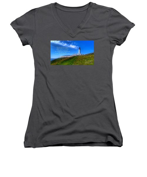 The Lighthouse On The Mull With Poem Women's V-Neck (Athletic Fit)