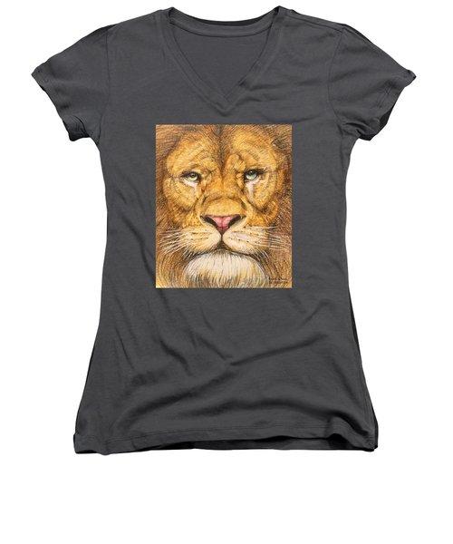 The Lion Roar Of Freedom Women's V-Neck T-Shirt (Junior Cut) by Kent Chua