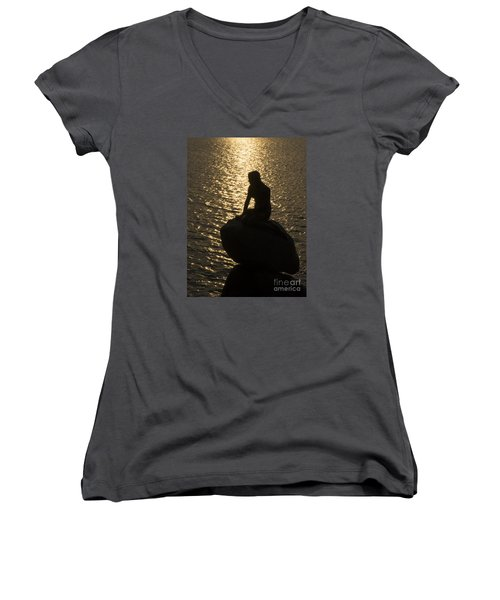 Women's V-Neck T-Shirt (Junior Cut) featuring the photograph The Little Mermaid by Inge Riis McDonald