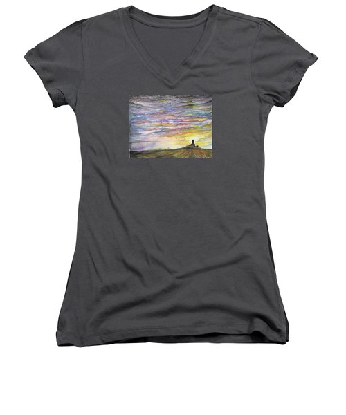Women's V-Neck T-Shirt (Junior Cut) featuring the digital art The Living Sky by Darren Cannell